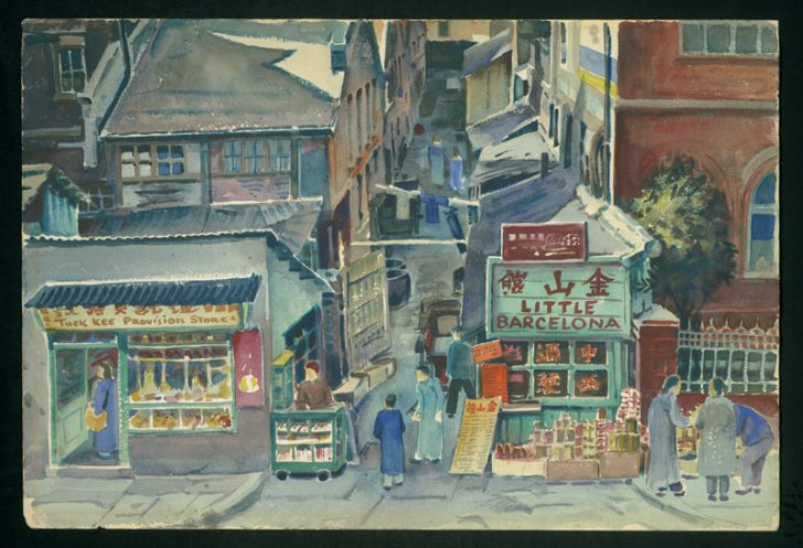 David Ludwig Bloch Straßenszene in Hongkew Aquarell 1949 © Leo Baeck Institute NY